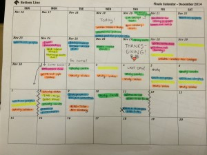A color-coded finals prep calendar